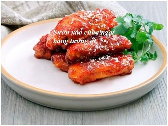 Cách làm sườn xào chua ngọt bằng tương ớt