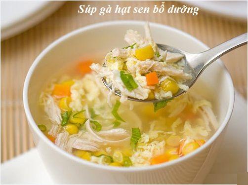 Cách nấu súp gà hạt sen